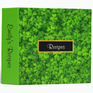 Green Clovers with FAUX Gold Foil Frame Recipes Vinyl Binders