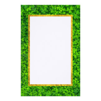 Green Clovers with FAUX Gold Foil Frame Stationery