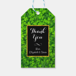 Green Clovers with FAUX Gold Foil Frame Thank You Gift Tags
