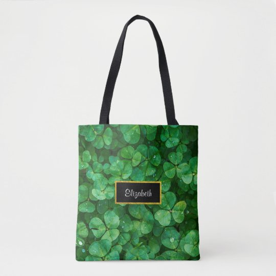 Green Clovers with FAUX Gold Foil Frame Tote Bag