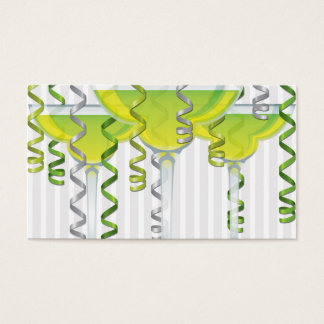 Green cocktail and ribbon business card