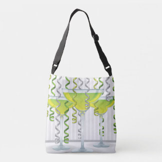 Green cocktail and ribbon crossbody bag