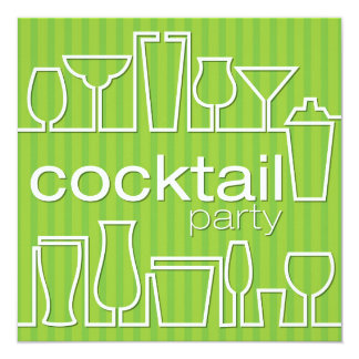 Green cocktail party card