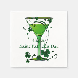 Green Cocktail St Patricks Day Standard Cocktail Disposable Napkin