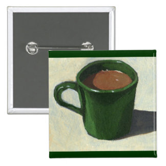 GREEN COFFEE MUG: IMPRESSIONIST PAINTING 2 INCH SQUARE BUTTON