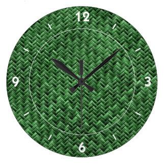 Green Colored Basket weave Pattern Large Clock