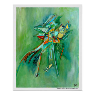 Green Colourful Wreck Abstract Art for Sale Poster