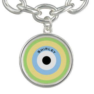 Green Combination Bullseye by Shirley Taylor Charm Bracelet