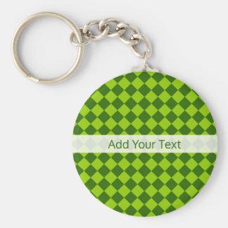 Green Combination Diamond Pattern by STaylor Basic Round Button Keychain
