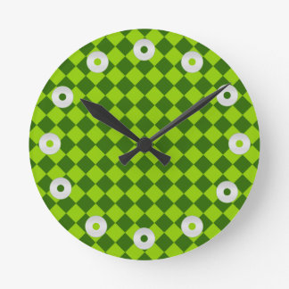 Green Combination Diamond Pattern by STaylor Round Clock