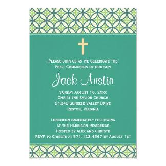 """Green Communion Invite/Announcement 5"""" X 7"""" Invitation Card"""