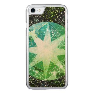 Green Compass Gemstone Rhinestone Gold Sparkle Carved iPhone 8/7 Case