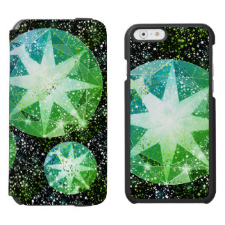 Green Compass Gemstone Rhinestone Gold Sparkle Incipio Watson™ iPhone 6 Wallet Case