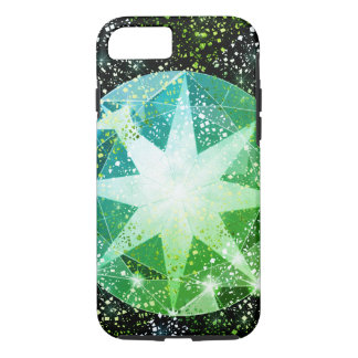 Green Compass Gemstone Rhinestone Gold Sparkle iPhone 8/7 Case