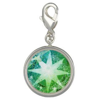 Green Compass Gemstone Rhinestone Look Charms