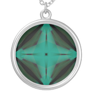 Green Compass Silver Plated Necklace