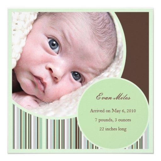 Green Contemporary Baby Boy Announcement