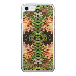 Green Copper Brown abstract design Carved iPhone 7 Case