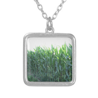 Green corn field on summer day silver plated necklace