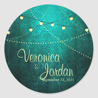 Green Country Lights Custom Wedding Stickers
