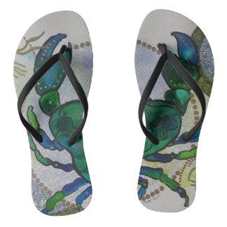 Green crab flip flops