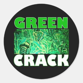 GREEN CRACK CLASSIC ROUND STICKER