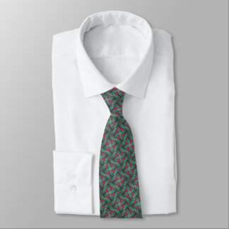 Green & Cranberry Pinwheel Fractal Tie