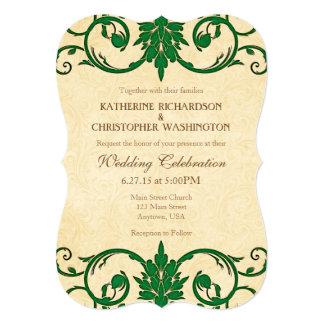 Green Cream Swirls Vintage Wedding Invitation