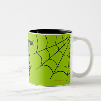 Green Creepy Spider Halloween Coffee Mug