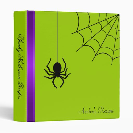 Green Creepy Spider Halloween Recipe Binder
