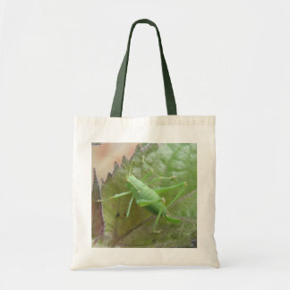 Green Cricket on a Leaf Tote Bag