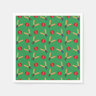 Green cricket pattern paper napkins