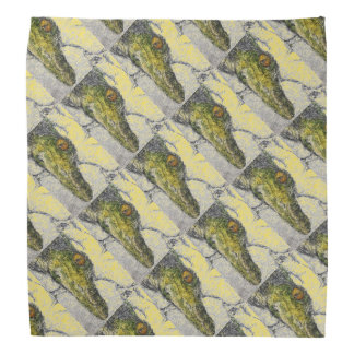 Green Croc Face Patterned Bandana