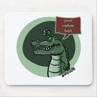green crocodile cartoon with speech bubble mouse pad