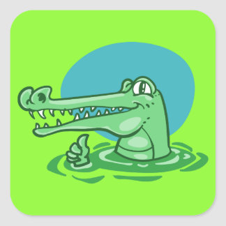 green crocodile funny cartoon square sticker