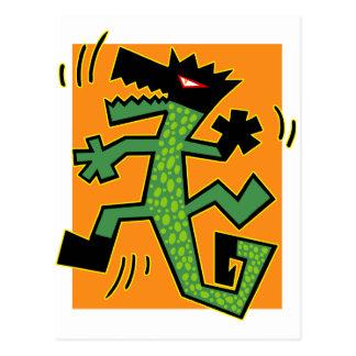 Green Crocodile Illustration Postcard