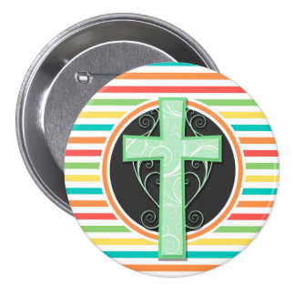 Green Cross Bright Rainbow Stripes Pinback Buttons
