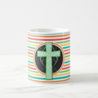 Green Cross; Bright Rainbow Stripes Coffee Mug