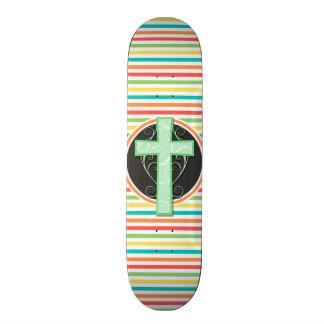 Green Cross Bright Rainbow Stripes Skateboard Deck