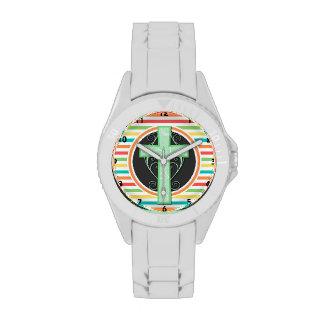 Green Cross; Bright Rainbow Stripes Watches