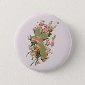 Green Cross With Pink Flowers 2 Inch Round Button