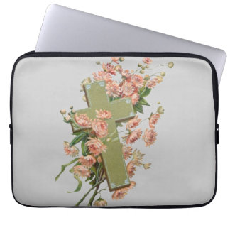 Green Cross With Pink Flowers Laptop Sleeve