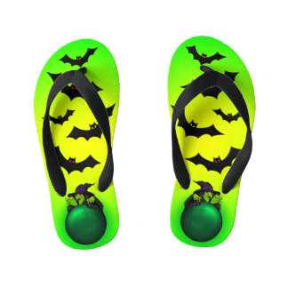 Green Crystal Ball Witch and Bats Kid's Flip Flops