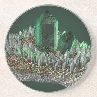 Green crystal coasters