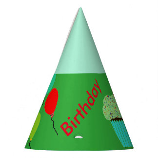 Green Cupcake Balloons Birthday Hats