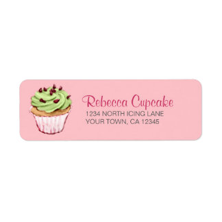 Green Cupcake on Pink Return Address Label