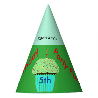 Green Cupcake Personalized Birthday Hats