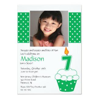 Green Cupcake Photo 7th Birthday Invitation