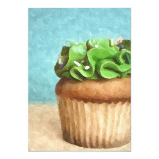 Green Cupcake  Photo Painting Invites