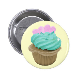 Green Cupcake with Pink Hearts Badges